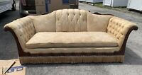 "Early Antique Camel Back Sofa Wood Ornate Carved Handle & Trim Design 82""L"