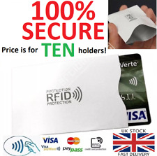 10x Contactless Credit Card RFID Blocking Defenders Quality Sleeve Holders R2 UK