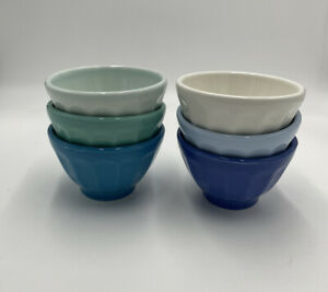 """Set of 6 Anthropologie Mini Biscuit Latte Turquoise Blue Bowls 3""""  New in Box"""