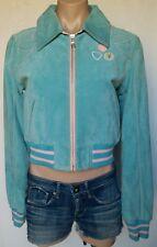 Playboy Size S Small Full Zip Cropped Leather Jacket Coat Powder Blue Gorgeous