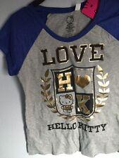 SANRIO LOVE HELLO KITTY Gray Blue T SHIRT Juniors SIZE SMALL S NEW NWT LOT!
