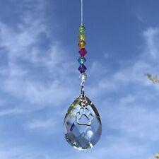 NUOVO Rainbow da appendere 3D Farfalla SUN Catcher con grande di vetro a goccia cristallo