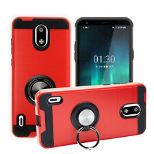 For Nokia 3.1C / 3.1A, Slim Shockproof Metallic Brush Case Finger Ring Stand