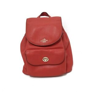 Auth COACH Pebble Leather Billy Mini Backpack F37621 Red Leather