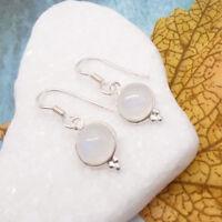 Mondstein rund weiß modernes Design Ohrringe Ohrhänger 925 Sterling Silber neu