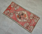 """Vintage Distressed Small Area Rug Hand Knotted Oushak Rugs Yastik -1'5""""x2'10"""""""