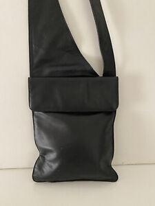 ORAN  Black Leather Crossbody Bag . As New .