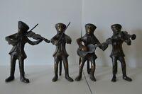 Vintage Musical Monkeys Brass Bronze Set 4 Playing Instruments Violin Guitar