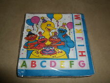 """Set Of 16 Sesame Street ABC 2-Ply Bevarage Napkins, 9 7/8"""" X 10""""~NEW IN PACKAGE"""