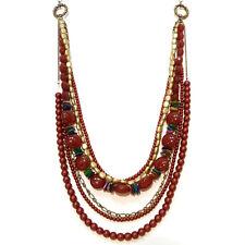 COLLIER SAUTOIR - idée cadeau ou soirée - chaines perles Multicolore Doré ROUGE