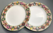 Mary Engelbreit Sakura Garden Time 2 Dinner Plates Tools Red White Check 89436