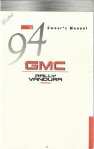 GM  GMC RALLY VANDURA Owner´s Manual 1994 Betriebshandbuch Handbook  BA