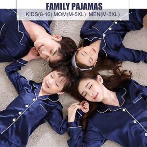 Blue Adult Kids Satin Faux Silk Family Matching Pajamas Set Nightwear Sleepwear