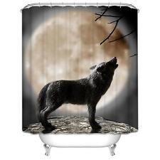 Wolf aullidos en la Luna Baño Cortina de ducha Ganchos de poliéster 180cm X 180cm