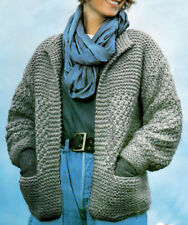 Knitting Pattern Ladies Super Chunky Edge to Edge Jacket Cardigan 32-44""