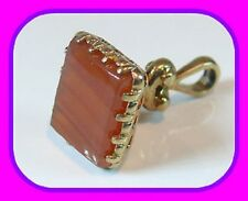 SOLID 9CT GOLD BANDED CARNELIAN  VINTAGE ENGLISH FOB/SEAL PENDANT HM LONDON 1972