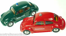 2x VW BEETLES FIRE &  POLICE  KOVAP HAND MADE EURO TINTOY  VOLKSWAGEN