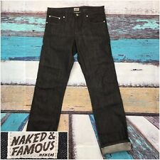 Naked and Famous Super Slim Guy Black Selvedge raw denim 34 x 35 Excellent!