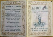 Statue of Liberty on 1922 French Insurance Advertising Pocket Calendar - Paris