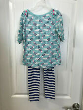 EUC sz M 7 8 Crazy8 By Gymboree Seaside Bright Bird Top Striped Leggings Outfit