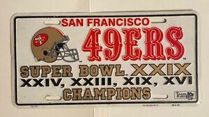 San Francisco 49'ers Super Bowl XXIX Champions Pre-Owned Auto License Plate