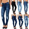 Damen Skinny Jeans Hose High Waist Röhrenjeans Jeanshose mit Risse S300