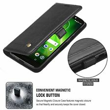 Motorola Moto Z3 Play Wallet Case Magnetic Close Leather Folio Stand Cover Black