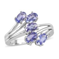 925 Sterling Silver Platinum Over Blue Tanzanite 5 Stone Ring Gift Size 9 Ct 2.4