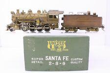 PFM United Brass HO Scale Santa Fe 2-8-0 Consolidation Locomotive and Tender