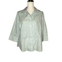 Chico's Button Front No Iron Top Large White Green Zig Zag Dots 3/4 Sleeve  NWT