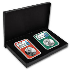 2016 2-Coin 1 oz Silver Eagle Set MS/PF-70 NGC (Christmas Label) - SKU #104916