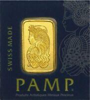 2 X one gram Pamp Suisse Gold Bar .9999 Fine (In Assay)