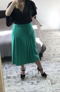 Vintage Emerald Green Midi Skirt Pleated 16 14