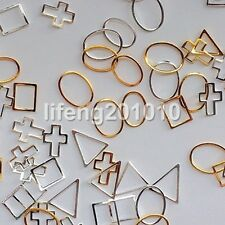50PC Beauty 3D Metal Nail Art Tips Decoration Accessories Gold Silver Frame Loop