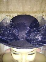 SALE @ BOLLMAN HAT CO Doeskin Felt Wool Navy Blue Bow Fedora Derby Hat ❤️ts17j