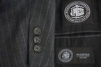 J Press Presstige Parker Charcoal Gray Pinstriped Wool 2 Pc Suit Jacket Pant 44L
