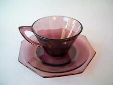 Purple Amethyst Hazel Atlas Glass Octagon Tea Cup and Saucer