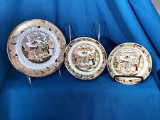 """3 Antique Petrus Regout Maastricht,""""Sana"""" Plates Lusterware Brown Transferware?"""