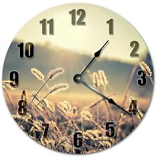 "10.5"" Sepia Grass Stalk Clock - Sun Rays - Large 10.5"" Wall Clock - 4062"
