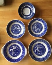 """VINTAGE BLUE WILLOW Lot Of 5 Plates, 1 Saucer, Handled Plate 7.25"""" Unmarked ?"""