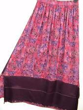Sk197~Tienda Ho~PINK & MERLOT~Double Hem Skirt~Embroidered~RAYON~OOAK~OS (L XL?)