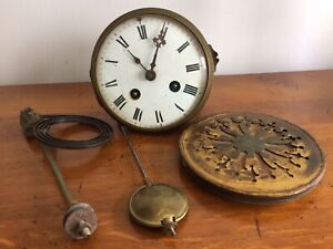 Antique French Clock 8 Day Striking Movement + Back + Pendulum + Gong -Working
