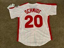 New! Mike Schmidt #20 Philadelphia Phillies Red Pinstripe Zip-up Jersey Large