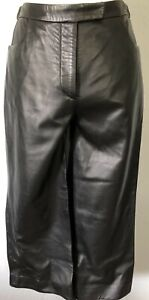 **M*42* BELLA FREUD Genuine Leather Straight Capri Pants Skirt top made in ITALY