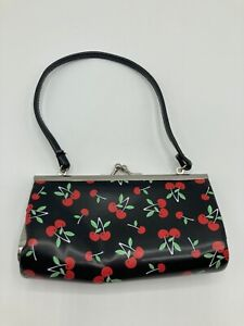 Vintage Black & Red Cherry Design Small Purse Handbag Clutch Bag