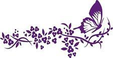 "Butterfly on Branch Vinyl Decal | Flower Wall Sticker 22""x12"" [Animal 23]"