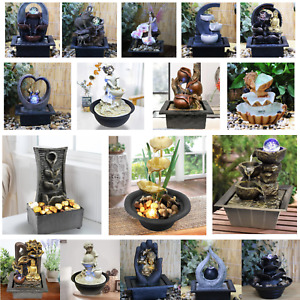Indoor Tabletop Fountain Water Feature LED Lights Polyresin Statues Home Decor