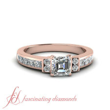 1.50 Ct Channel Set Wedding Ring With Asscher Cut Diamond In 14K Rose Gold GIA