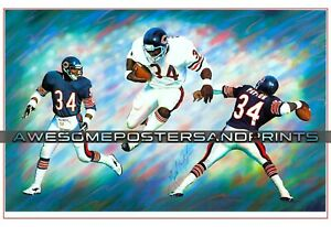 RARE, Vintage NFL, Chicago Bears Walter Payton Signed, Lithograph. Large Reprint
