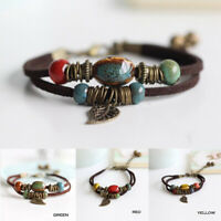 Ceramic Leather Bracelet Colorful Bead Leaf Pendant Bangle Family Jewellery Gift